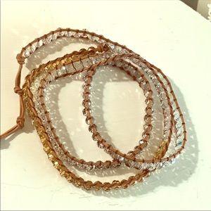 """Jewelry - NWOT REPOSH 160 SWAROVSKI CRYSTALS 36"""" LEATHERWRAP"""